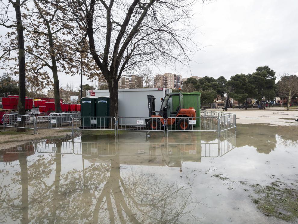 Una imagen del 5 de marzo del año pasado, cuando el agua obligó a suspender la fiesta.