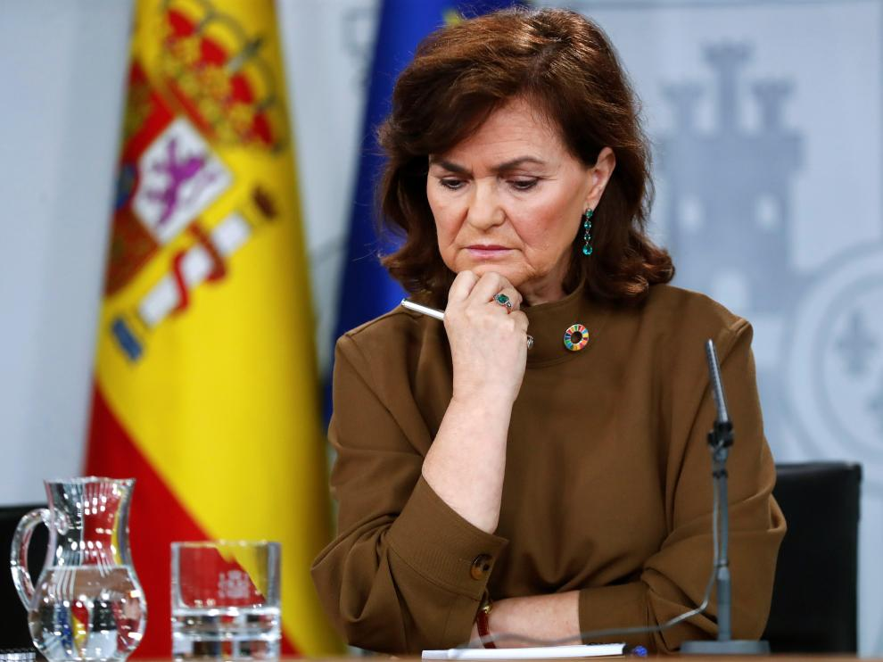 Carmen Calvo, en rueda de prensa.