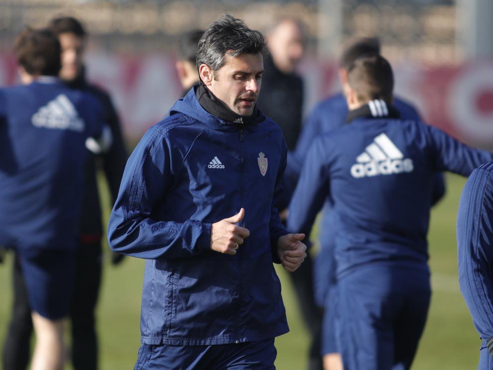 Chechu Dorado, en un entrenamiento del Real Zaragoza
