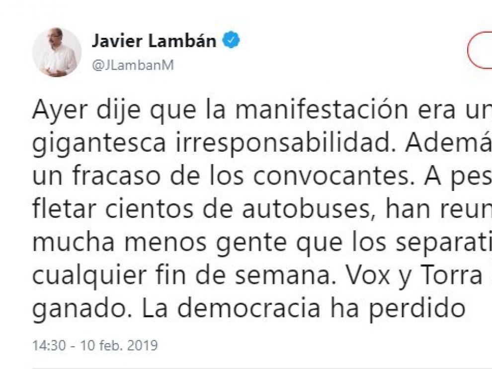 """Lambán y Echenique coinciden en calificar de """"fracaso"""" la concentración en Madrid"""