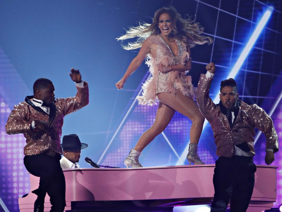 La cantante Jennifer López, en los Grammy.