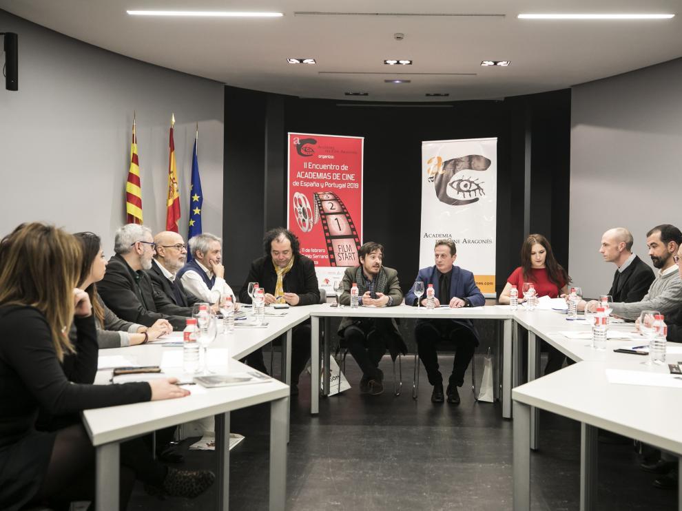 Los representantes de las academias de cine españolas, reunidos en Zaragoza.