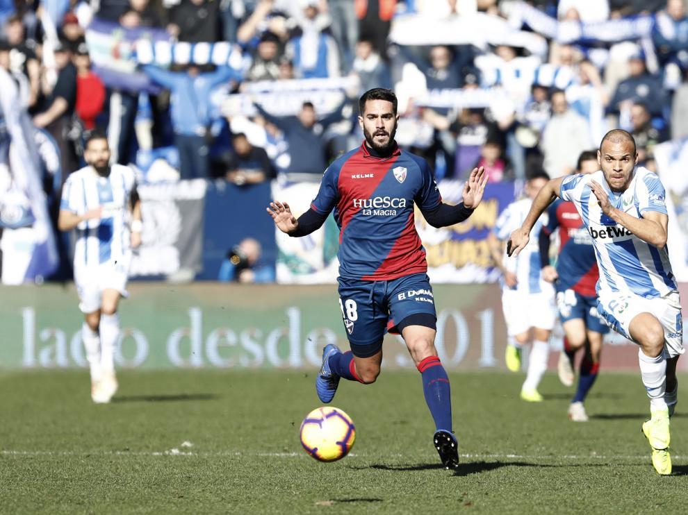 Pablo Insua, durante el partido de la SD Huesca en Leganés.