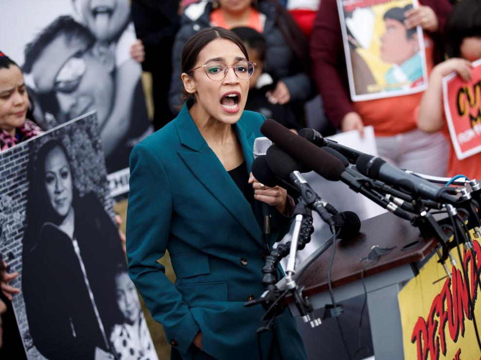 La congresista Ocasio-Cortez durante un acto político en Washington.