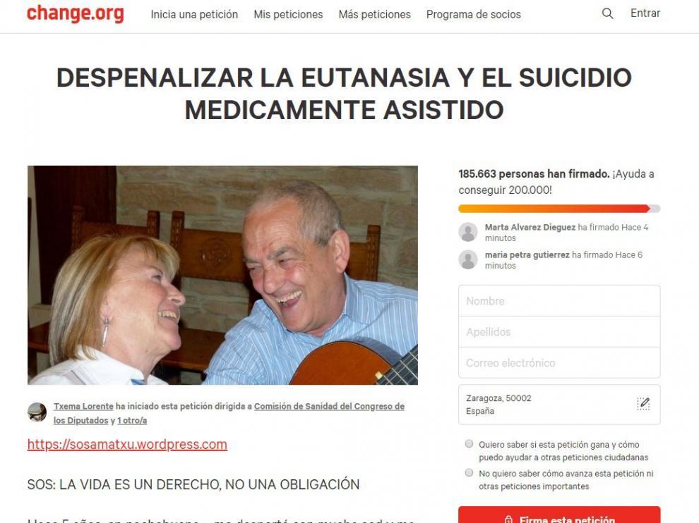 Una imagen de la recogida de firmas para pedir la despenalización de la eutanasia en Change.org.