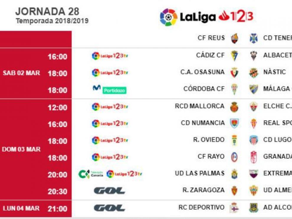 Horarios y fechas de la 28ª jornada de Segunda División, con el Real Zaragoza-Almería.
