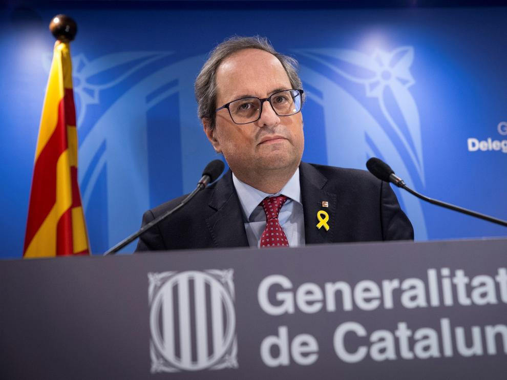 El presidente de la Generalitat, Quim Torra, tras finalizar la primera jornada del juicio del 1-O.