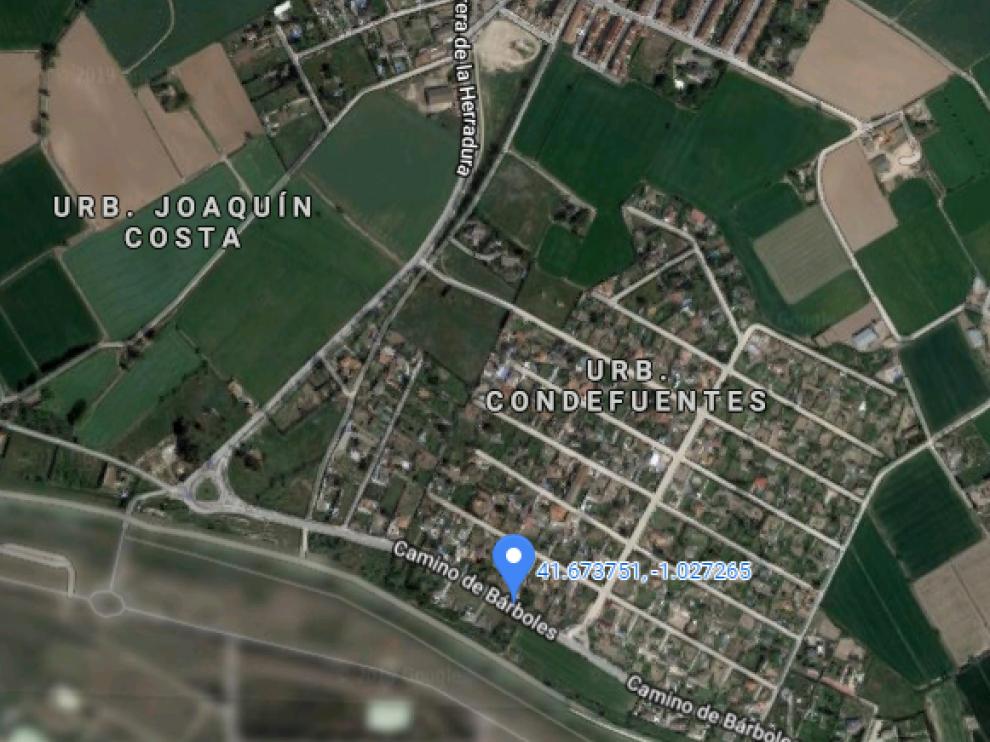 Camino de Bárboles en Garrapinillos, lugar en el que se ha producido el incidente.
