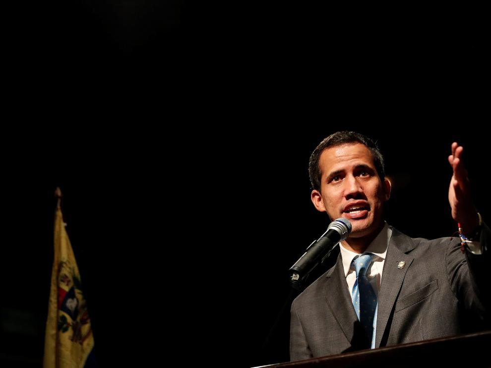 Juan Guaidó en un acto con estudiantes en Caracas