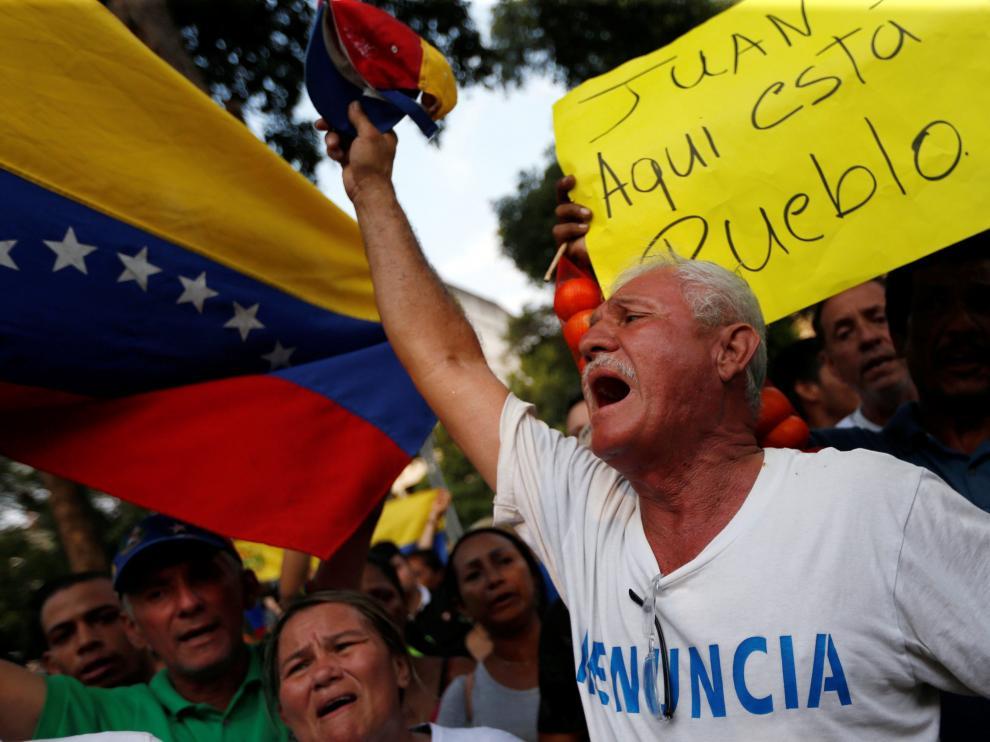 Manifestación en Cúcuta, localidad colombiana en la frontera con Venezuela.