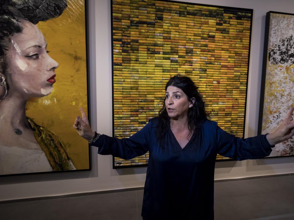 Lita Cabellut, este miércoles, presentando su exposición
