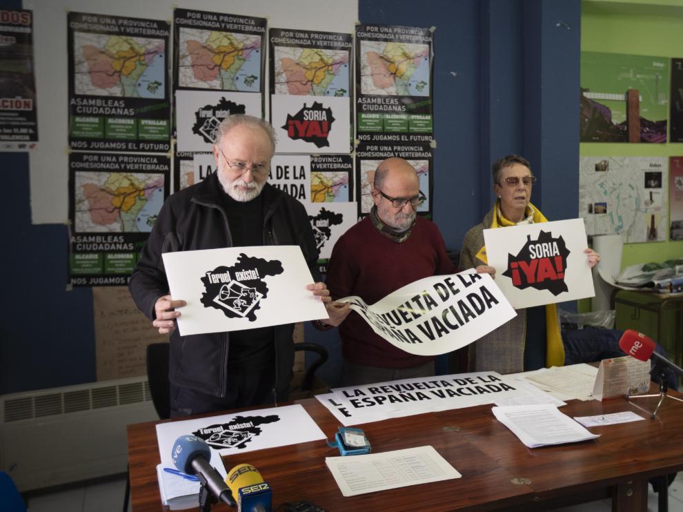 """Representantes de Teruel Existe anuncian la manifestación de la """"España vaciada""""."""