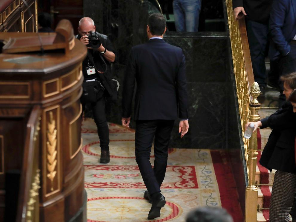 Sánchez abandonando el Congreso este miércoles