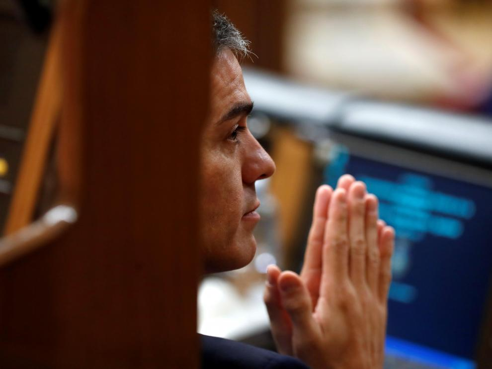 El presidente del Gobierno, Pedro Sánchez, durante la segunda jornada de debate de los PGE en el Congreso.