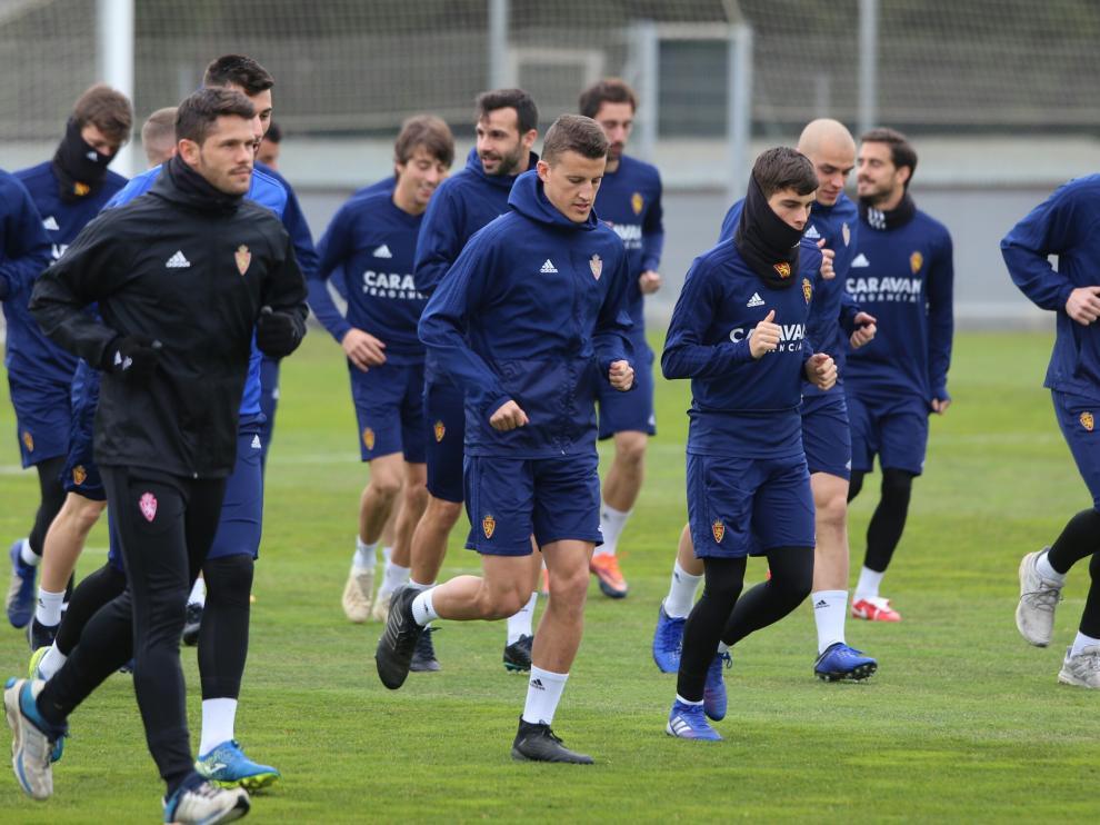 La plantilla del Zaragoza prepara este jueves el partido frente al Albacete en La Romareda.