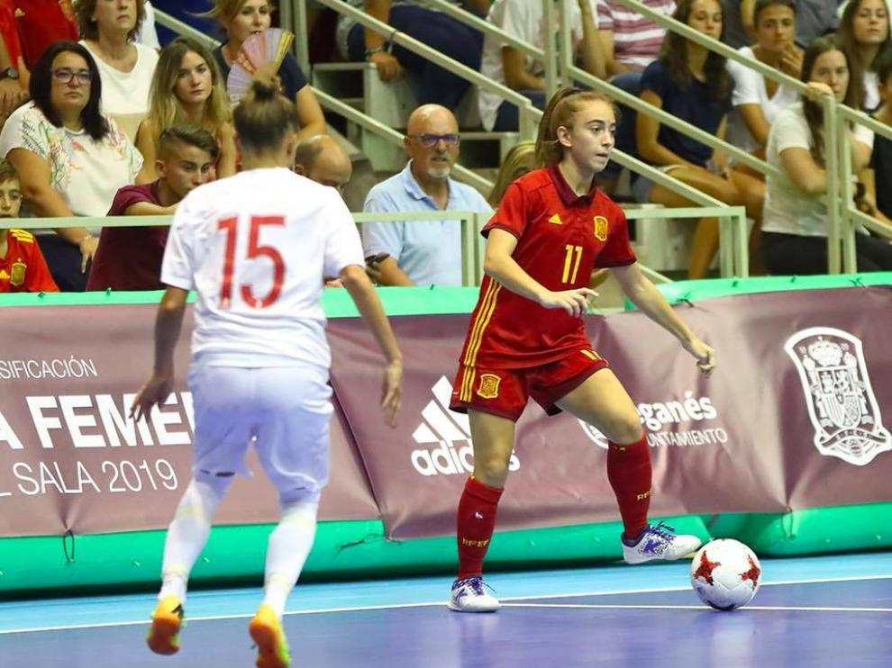 La zaragozana, en un partido de la selección nacional