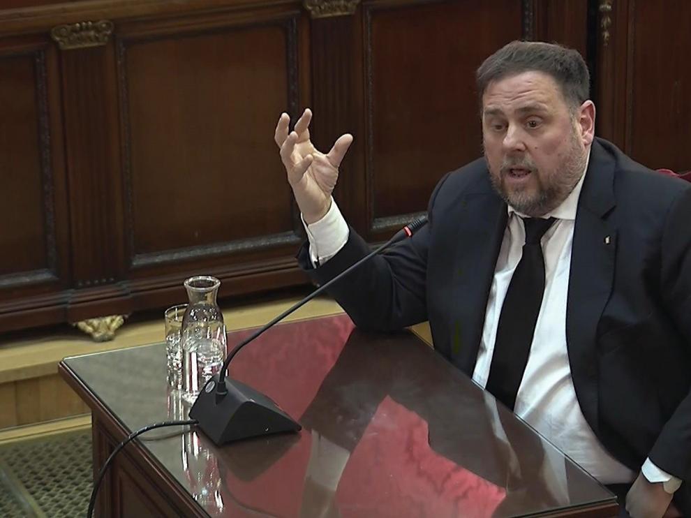 El exvicepresidente de la Generalitat, Oriol Junqueras, durante la tercera sesión del juicio del 'procés'.