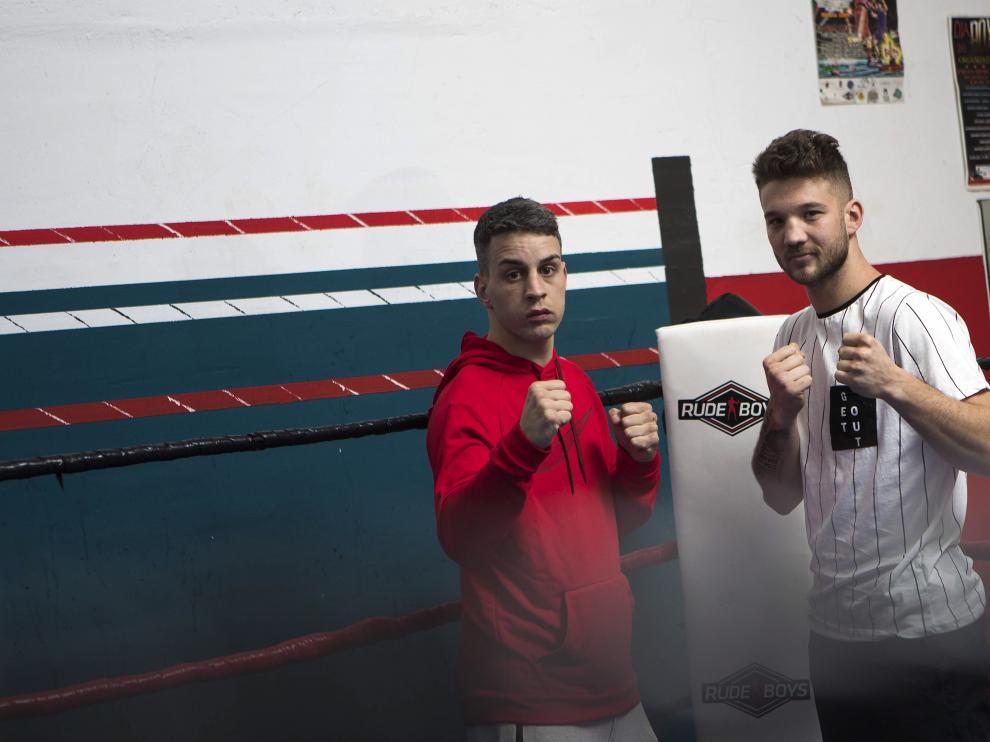 Jonathan Valero y Ezequiel Gurría, en el gimnasio Dojo Zaragoza