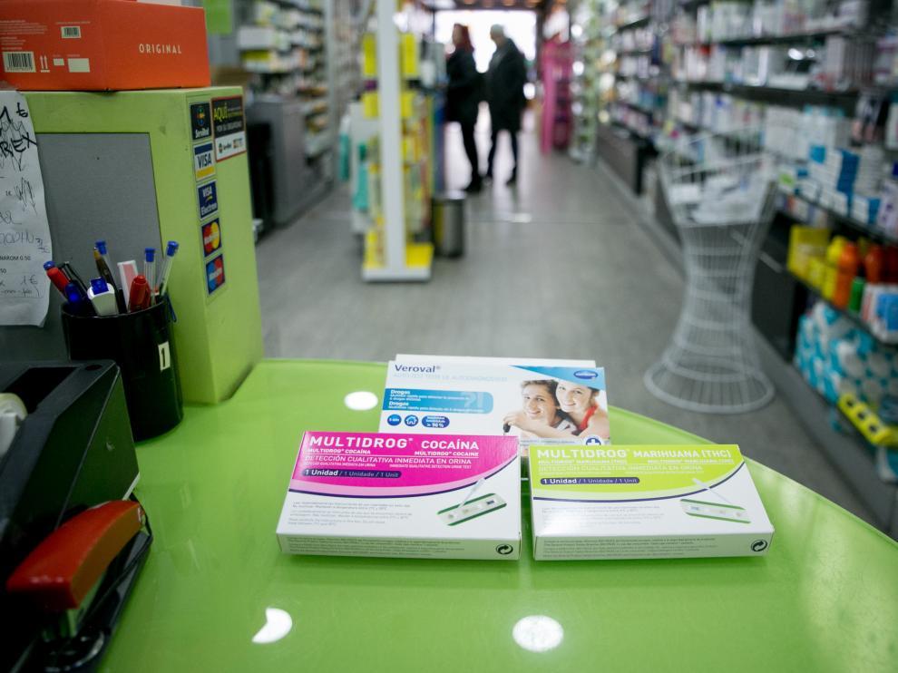 Algunos de los test de drogas que se venden en las farmacias aragonesas