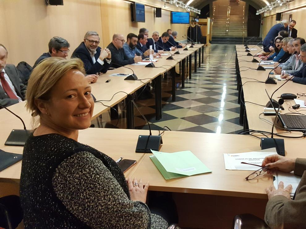 La consejera de Economía, Marta Gastón, durante la reunión del Consejo de Industria de Aragón.