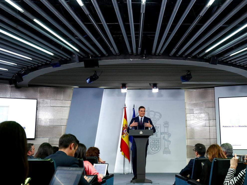 Pedro Sánchez durante la comparecencia en la que ha anunciado la fecha de las próximas elecciones.