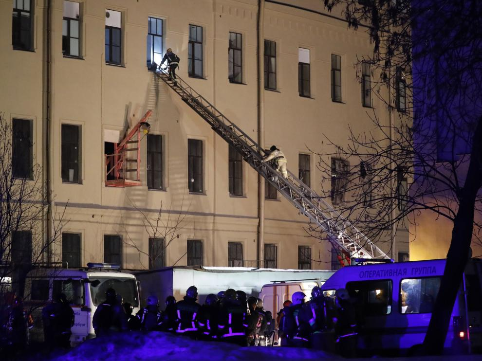 Derrumbe del techo de un edificio universitario en San Petersburgo