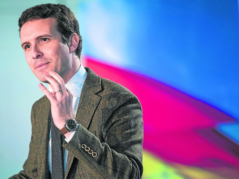 El líder del PP y candidato a la presidencia del Gobierno, Pablo Casado, ayer en Zaragoza