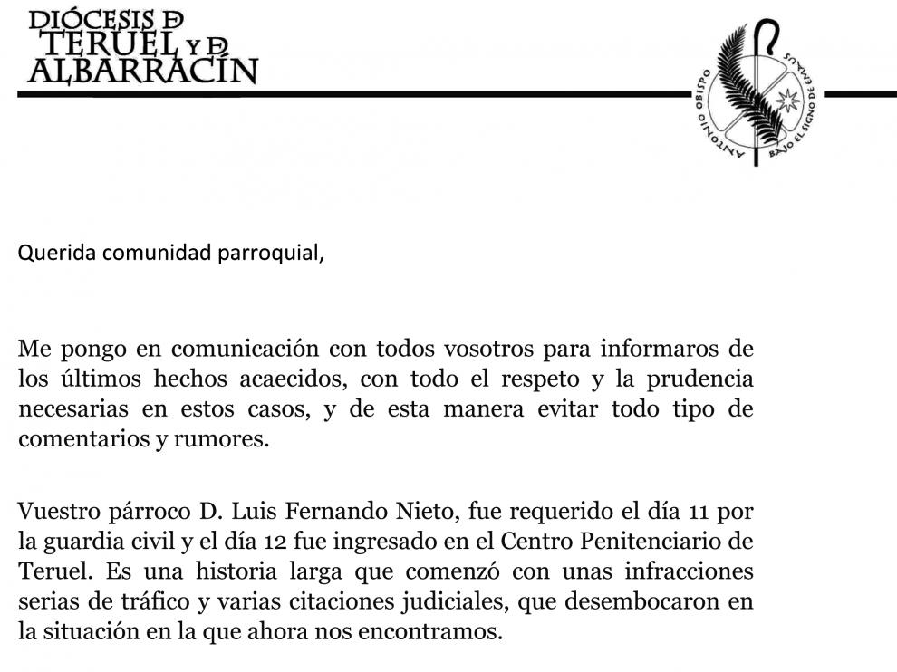 Comunicado oficial del Obispo de Teruel y Albarracín.