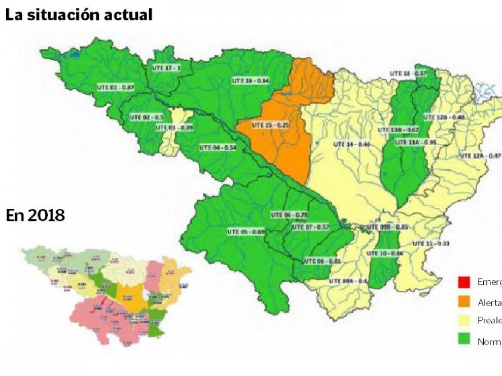 Índice de sequía de enero de la Confederación Hidrográfica del Ebro