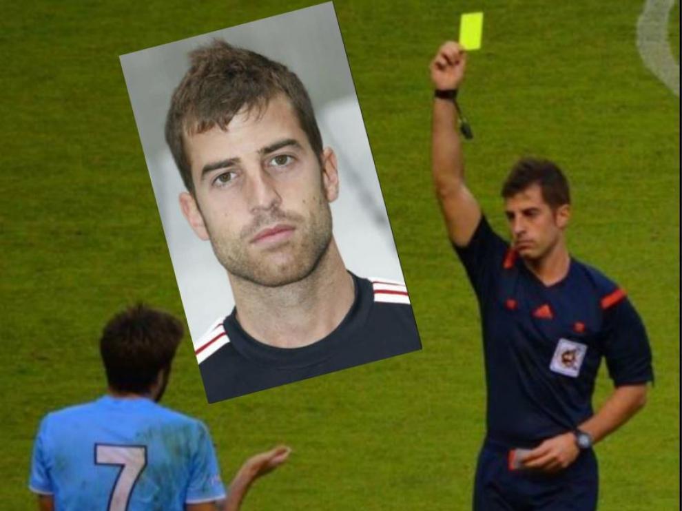 Ávalos Barrera, en un partido, y foto de primer plano del joven árbitro catalán.