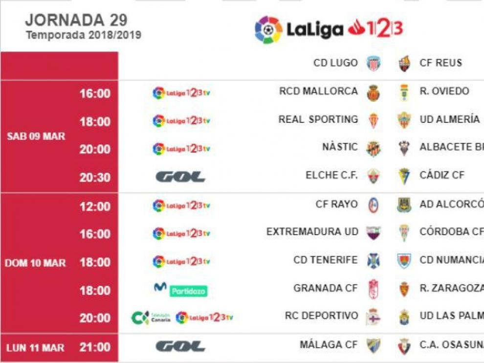 Horarios y fechas de la 29ª jornada de liga, en la que el Real Zaragoza visitará al Granada.