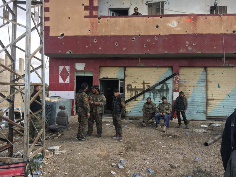 Miembros de las Fuerzas de Siria Democrática, liderada por kurdos