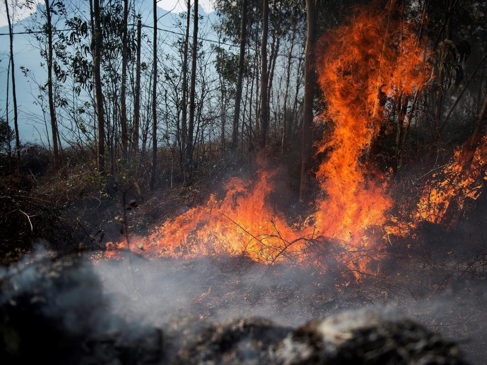 Llamas de un incendio en la localidad cántabra de Ramales de la Victoria.