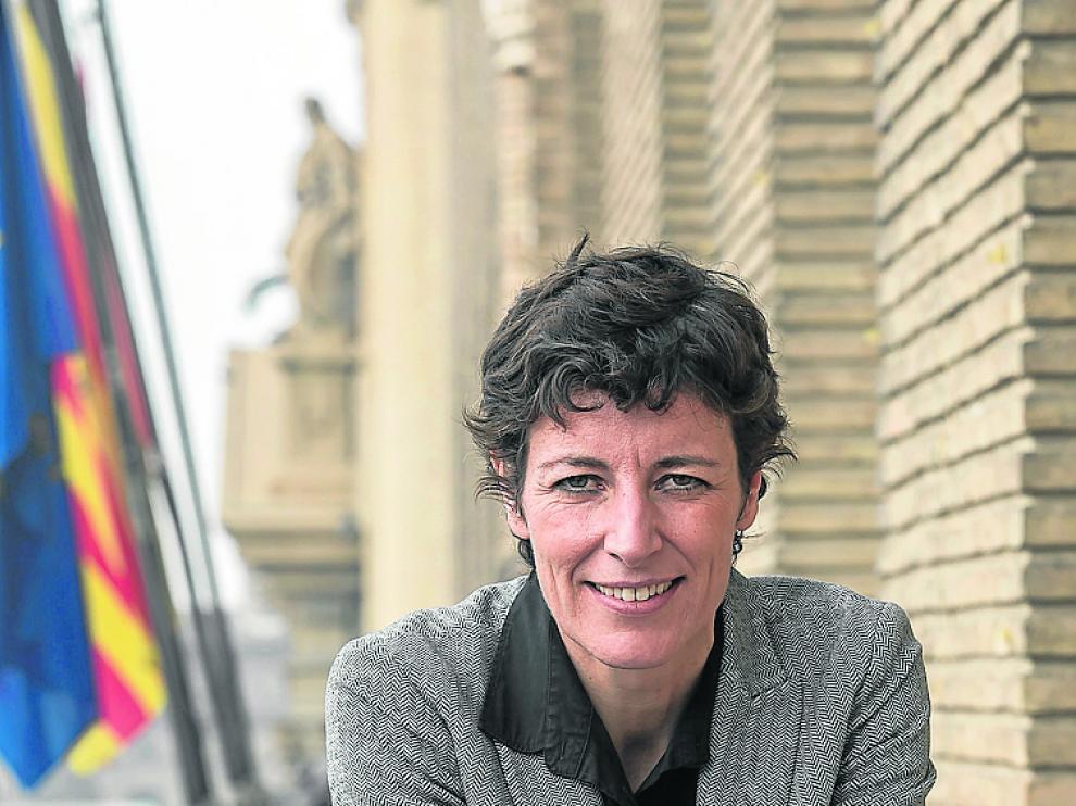 Elisa Aguilar, el martes en el balcón del Ayuntamiento.