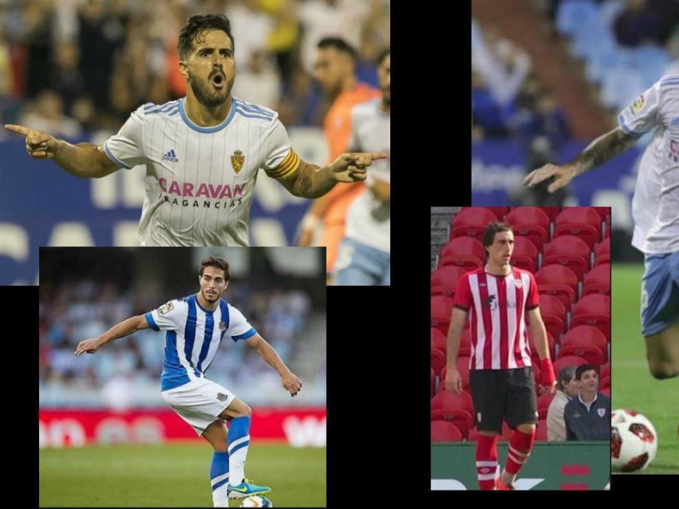 Javi Ros y Eguaras, centrocampistas del Real Zaragoza, con su pasado en la Real Sociedad y el Athletic de Bilbao, respectivamente.