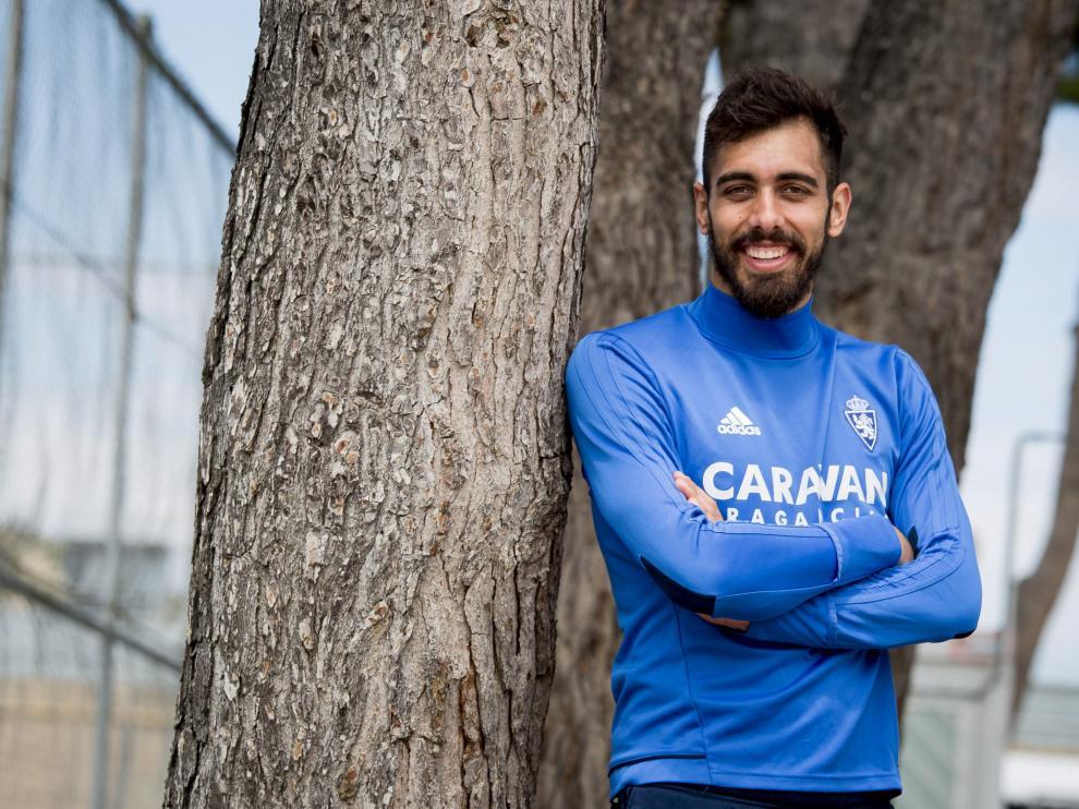 Borja Iglesias, durante su etapa la temporada pasada en el Real Zaragoza.