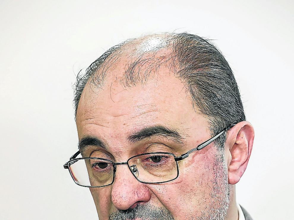 El presidente de Aragón, Javier Lambán, este martes.