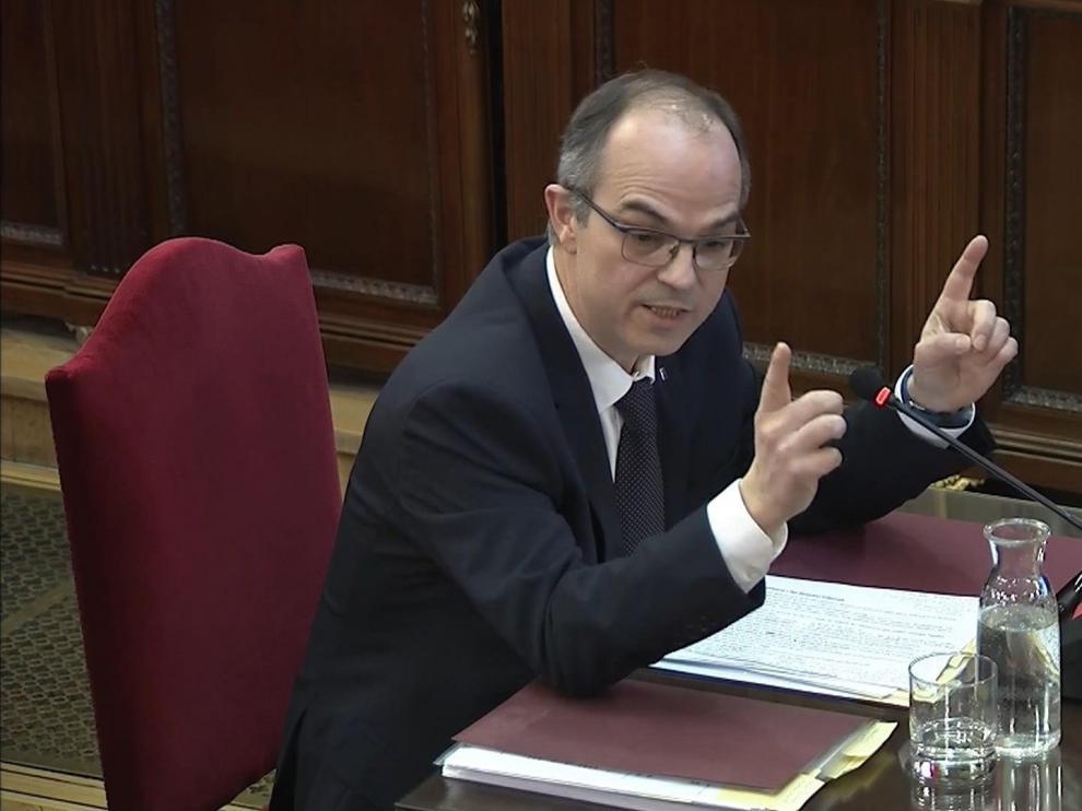 El exconsejerode Presidencia de la Generalitat Jordi Turull durante su declaración.