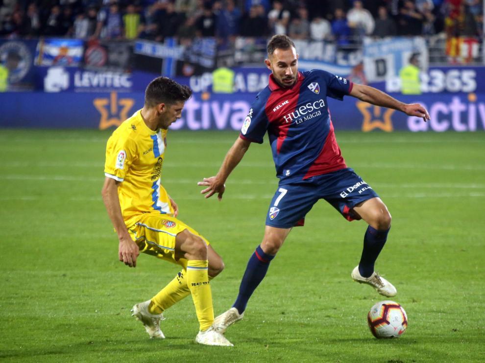 David Ferreiro, durante el duelo entre Huesca y Espanyol de la primera vuelta.