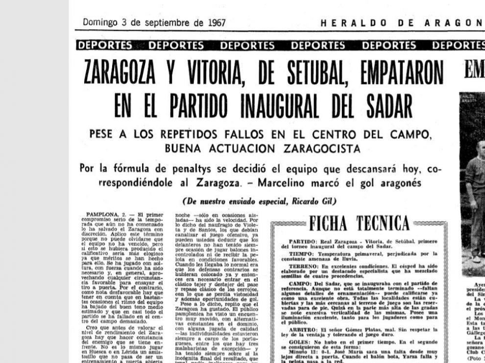 Encabezamiento de la crónica y ficha del Real Zaragoza-Vitoria Setúbal con el que se inauguró El Sadar, el estadio de Pamplona, en septiembre de 1967.