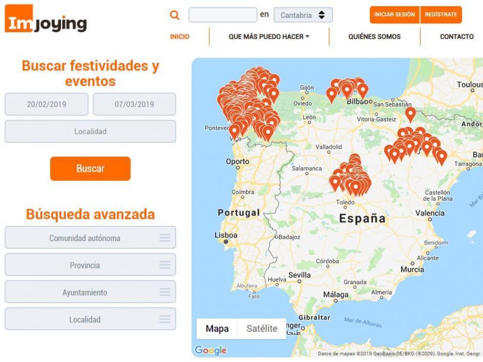 La web Imjoying muestra actividades culturales en España.