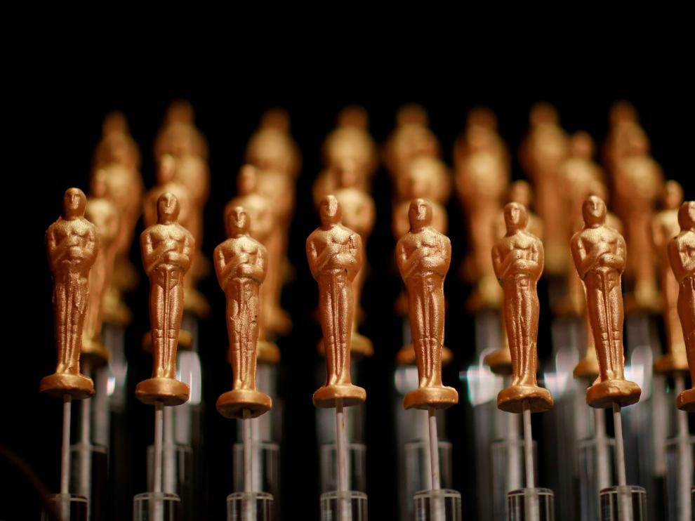 Oscar de chocolate listos para servir en la Governor's Ball, la fiesta oficial posterior a la ceremonia de los Oscar.
