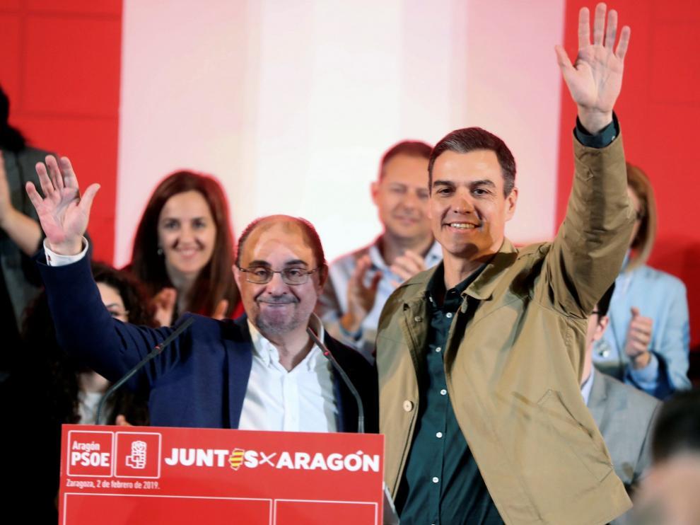 Javier Lambán y Pedro Sánchez en imagen de archivo.