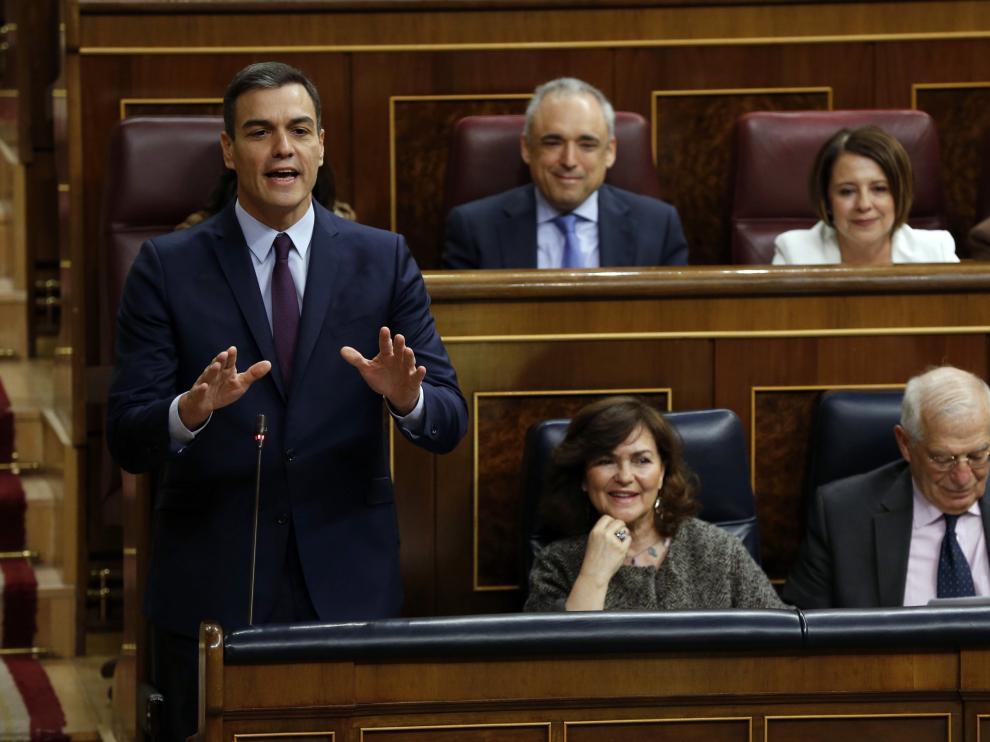 El líder del PSOE y presidente del Gobierno, Pedro Sánchez, en el Congreso de los Diputados.