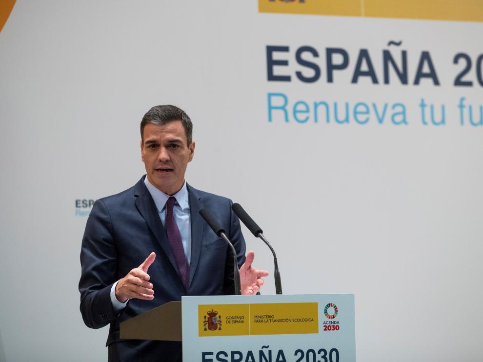 Sánchez, ayer en Madrid durante la presentación de la Estrategia de Transición Justa