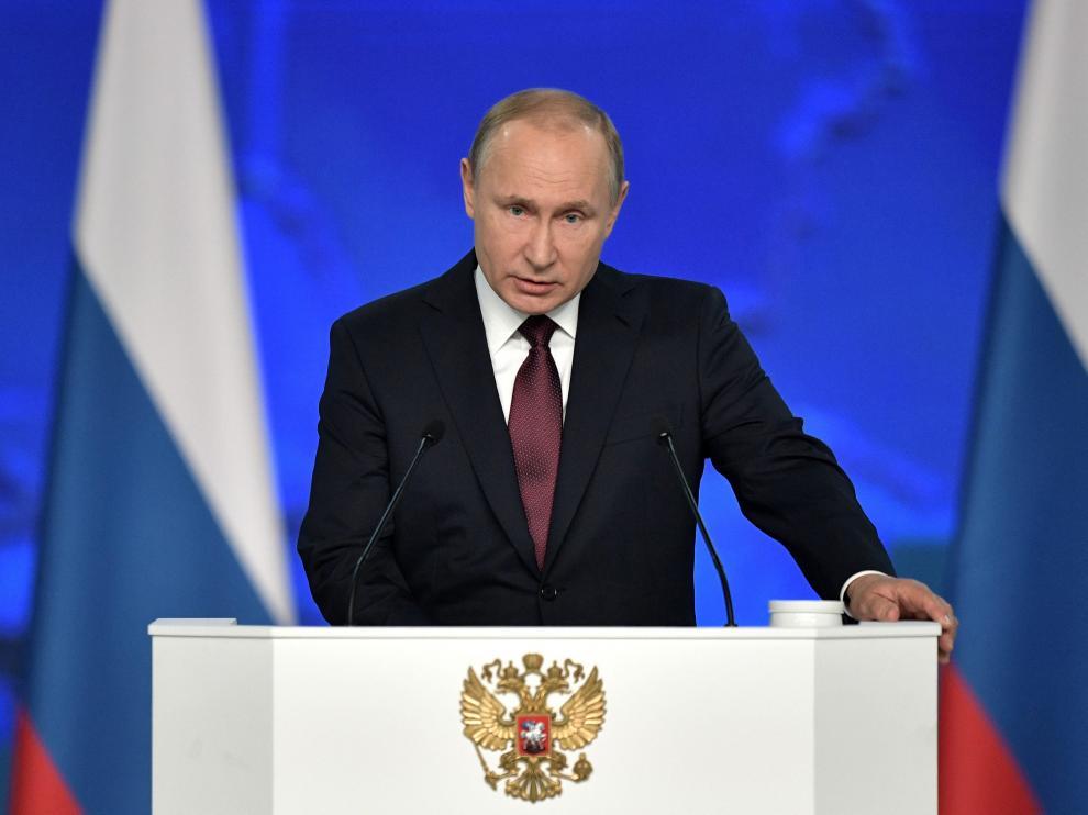 Vladímir Putin en su discurso de este miércoles.
