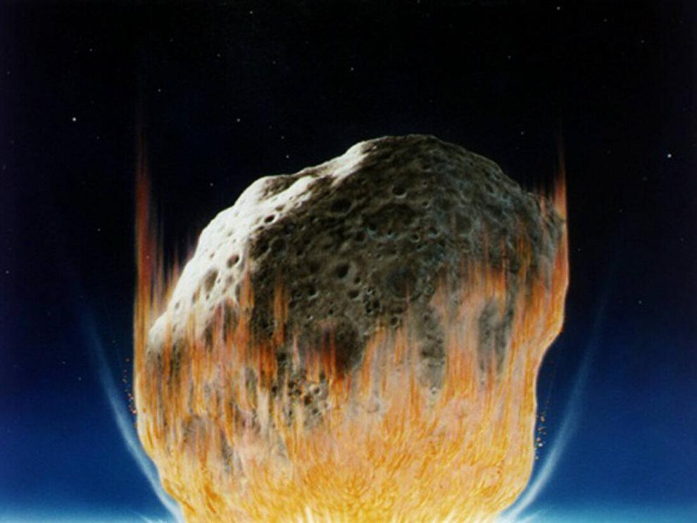 Recreación del impacto de un gran meteorito contra la Tierra.