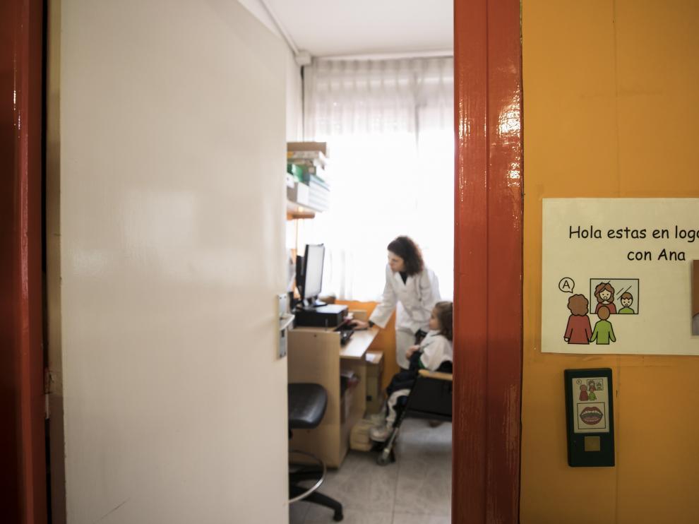 Una de las aulas del colegio especial San Martín de Porres de Atades.