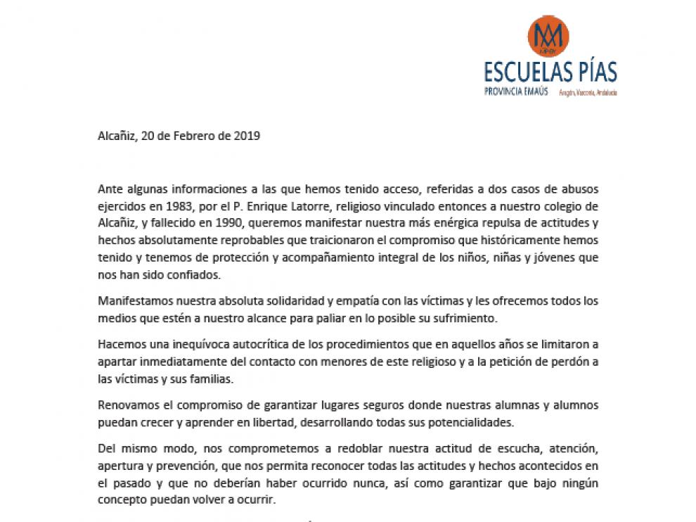 El comunicado emitido por las Escuelas Pías de Alcañiz