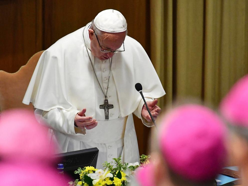 El Papa Francisco durante la reunión para la protección de menores.